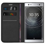 Leather Wallet Case & Card Holder for Sony Xperia XA2 Ultra - Black